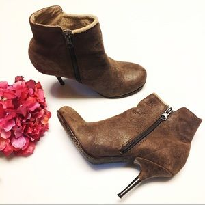 Diesel Firetip Brown Leather Stiletto Ankle Boots